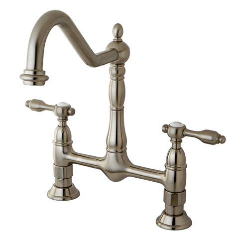 kingston brass victorian porcelain 2 handle bridge kitchen kingston brass victorian solid lever 2 handle wall mount