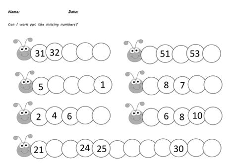 year 1 caterpillar missing numbers differentiated