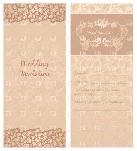 vintage wedding invitation or greeting card template