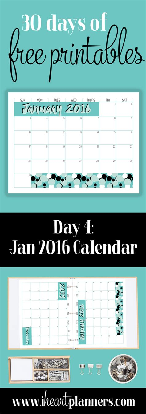 printable day planner january 2016 january 2016 free printable calendar i heart planners