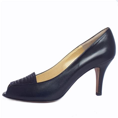 navy shoe kaiser skerzo peep toe court shoes in navy