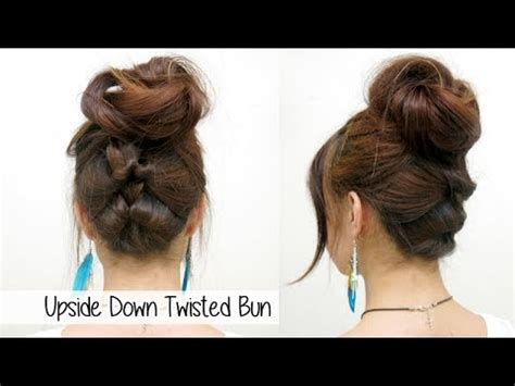 upside down v haircuts upside down twisted bun l quick cute easy hairstyle