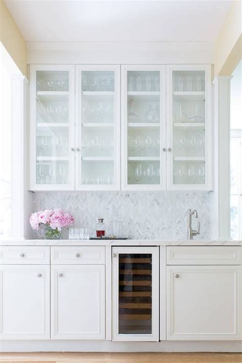 glass front cabinets bar sink transitional