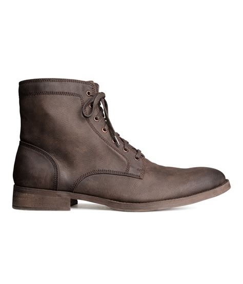 hm boots h m lace up boots in brown for lyst