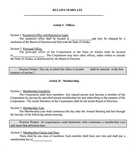 7 Bylaws Templates Sle Templates Corporate Bylaws Template