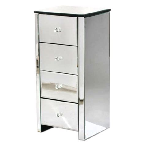 venetian mirrored 4 drawer narrow cabinet free delivery