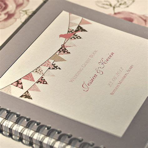 Wedding Guest Book Cover Ideas by Bunting Design Personalised Wedding Guest Book By