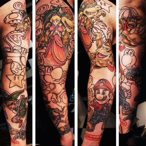 cartoon tattoo arm mario brothers characters tattoo sleeve best tattoo