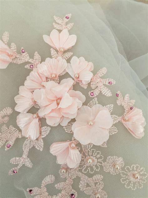 beaded lace applique in blush 3d wedding lace applique