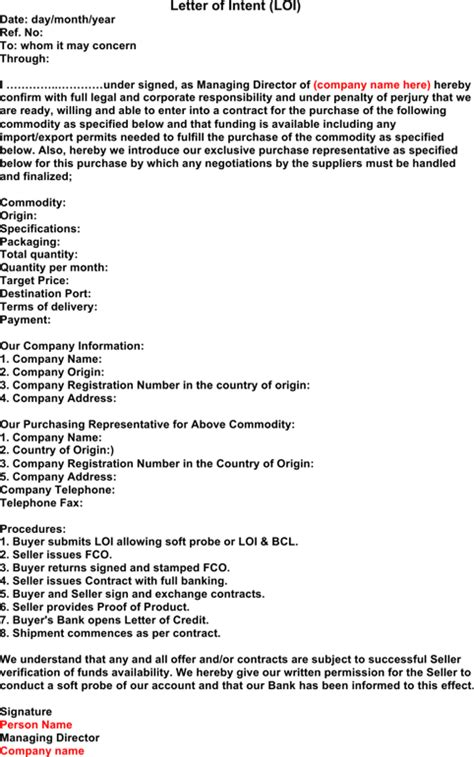 Structured Contract Guidance Letter letter of intent for free formtemplate