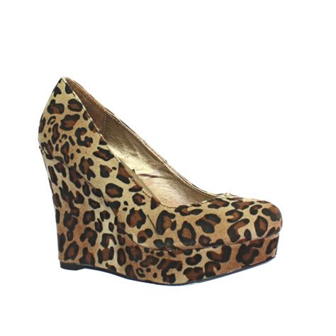 womens leopard print wedge heel platform toe court