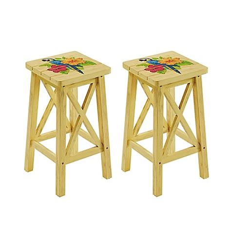 bed bath and beyond stools margaritaville 174 outdoor parrot bar stools in yellow set