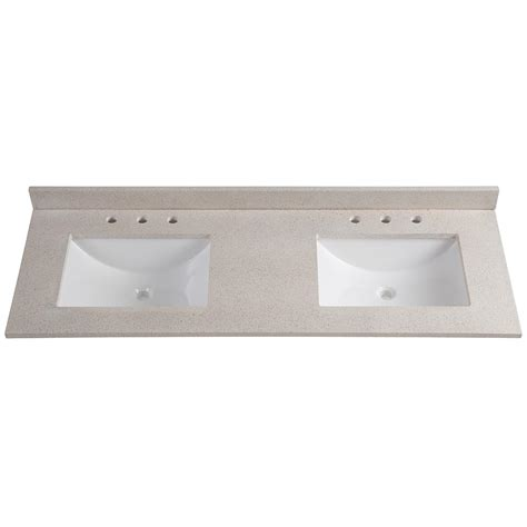 double bathroom sink tops home decorators collection 61in w x 22 in d engineered