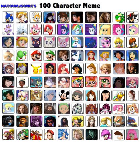 natoumjsonic 100 characters meme by natoumjsonic on deviantart