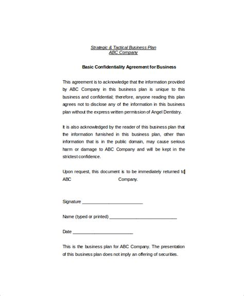 11 basic confidentiality agreement templates free