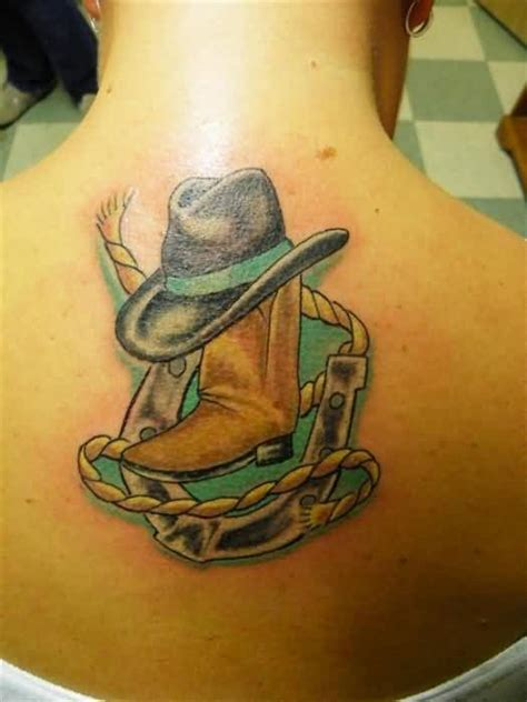 tattoo cover up boots upper back cover up with crazy cowboy hat tattoo with