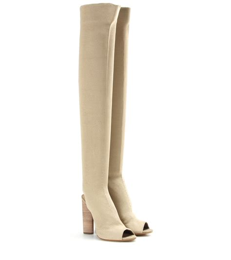 the knee peep toe boots yeezy knitted the knee peep toe boots in beige lyst