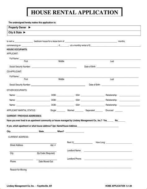 printable house rental application 6 house rental application form printable receipt