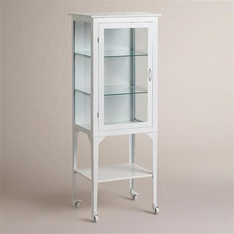 Metal Bathroom Storage Large White Cabinet