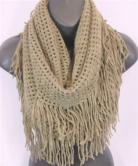 us seller winter warm fringe crochet knit infinity scarf