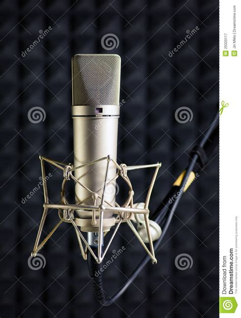 condenser microphone for screaming condenser microphone in recording studio royalty free stock photography image 29320117