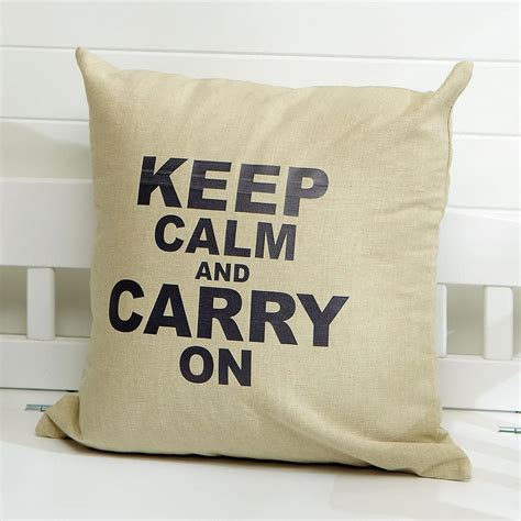 Keep Calm And Carry On Pillow by Keep Calm And Carry On Burlap Pillow Colorful Images