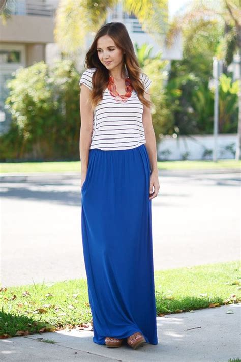 royal blue maxi skirt striped t shirt and statement