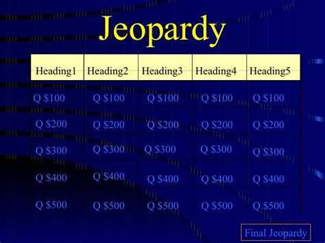 jeopardy templates for google slides jeopardy template