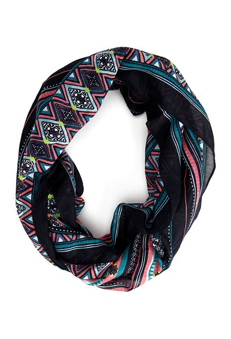 forever 21 eclectic striped infinity scarf in blue navy