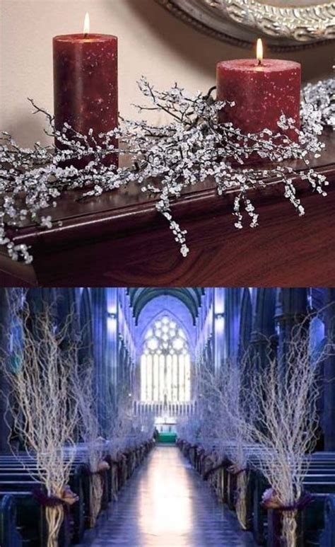 iced branches winter wedding centerpieces