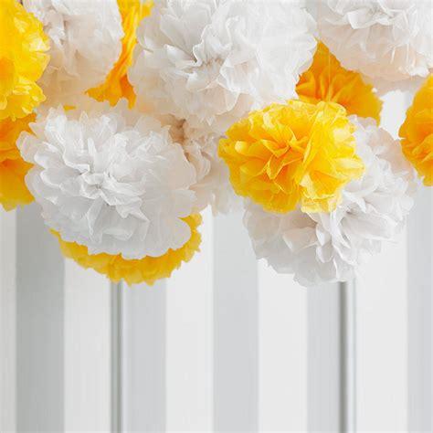 Make Tissue Paper Pom Poms - pack of five yellow tissue paper pom poms by