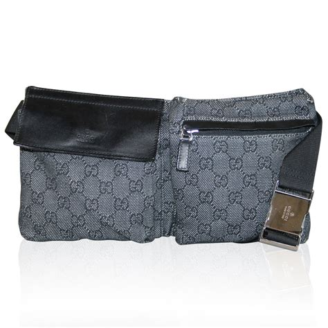 gucci black monogram canvas black leather waist bag