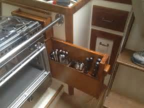 small galley kitchen storage ideas small boat projects aboard easier new stove and new storage