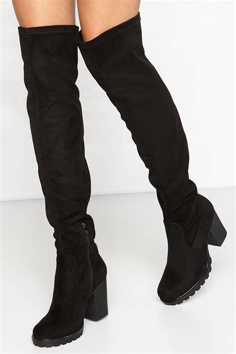 thigh high boots kayleigh black suede thigh high boots