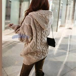 Amazon Kitchen Furniture women hooded cardigan cable knit chunky jumper long sleeve