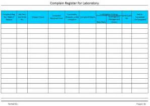 Complaints Register Template complaint log book template