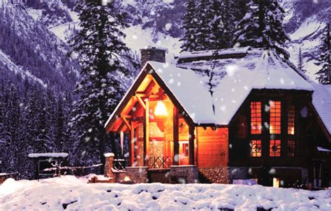 Christmas Homes Decorated by Neige Qui Tombe Flocons Hiver Chalet Montagne Image Gif Anim 233