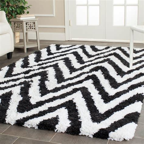 Safavieh Chevron Rug Safavieh Chevron Shag Ivory Black 5 Ft X 8 Ft Area Rug Sg250b 5 The Home Depot