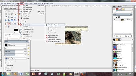 gimp show mask layer black transparency techie beginners tutorial creating and adding new 2d building art with