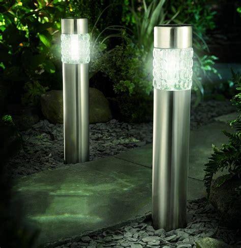 bollard solar lights pair of solar powered bollard light with motion sensor by