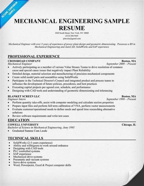 resume sles mechanical engineer 17 best ideas about mechanical engineering projects on