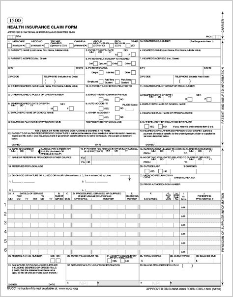 fillable cms 1500 template hcfa 1500 form fillable form resume exles yllbrxwl3q