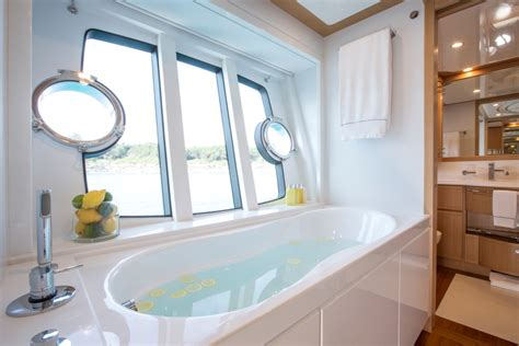 electra superyacht master cabins bathroom yacht luxury yacht charter motor yacht sans abri master cabin
