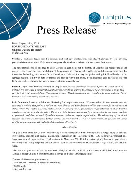 Press Release Template Pdf website press release uniplus pdf pdf archive