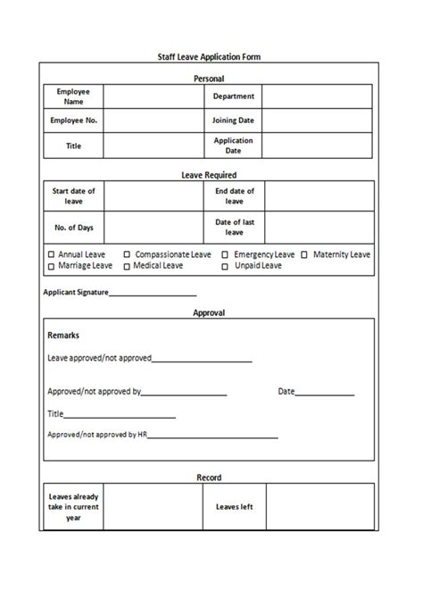 leave form sle sle forms printable free to and easy to use