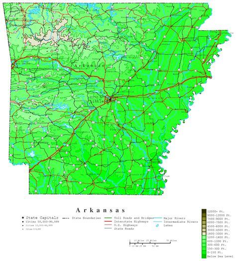 map of arkansas and arkansas contour map