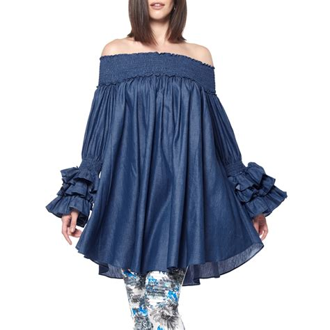 denim shoulder tunic dress