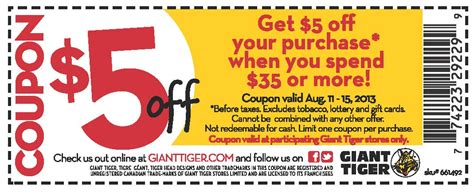 printable coupons for giant grocery store giant tiger canada 5 off your purchase of 35 or more