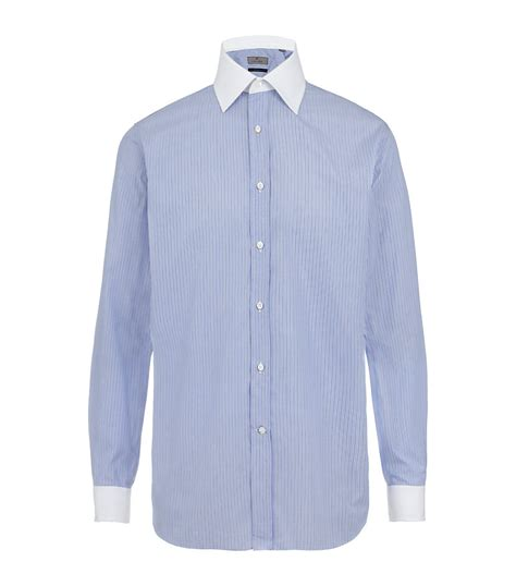Contrast Collar Shirt canali contrast collar shirt in blue for pearl lyst