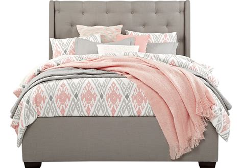 bed image alison gray 3 pc queen upholstered bed beds colors